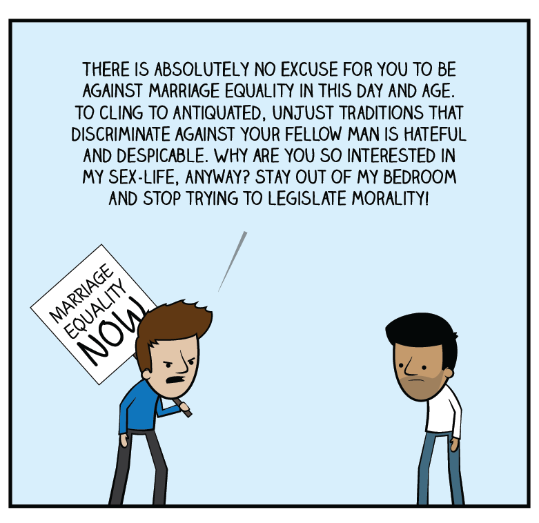 Pro-gay-marriage does not mean anti-tradition. Just anti-SOME-tradition. Where's the equality in that?