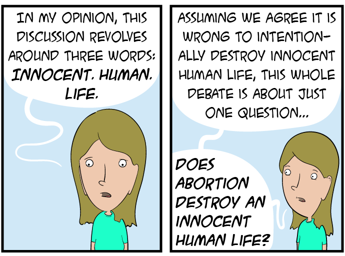 Three words: one philosophical, two biological, and all three obviously and undeniably applicable to the unborn.